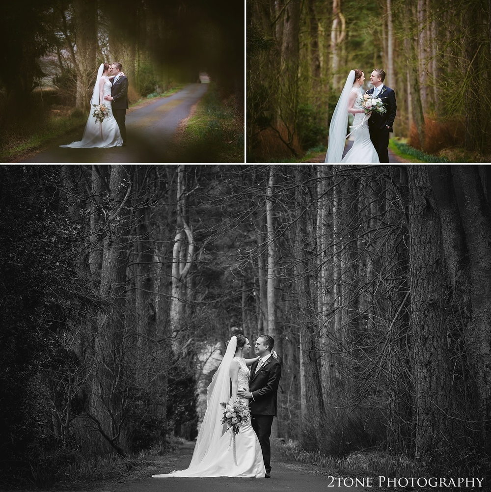 Wedding photos in the woods at Woodhill Hall.  Wedding photography in Northumberland by www.2tonephotography.co.uk