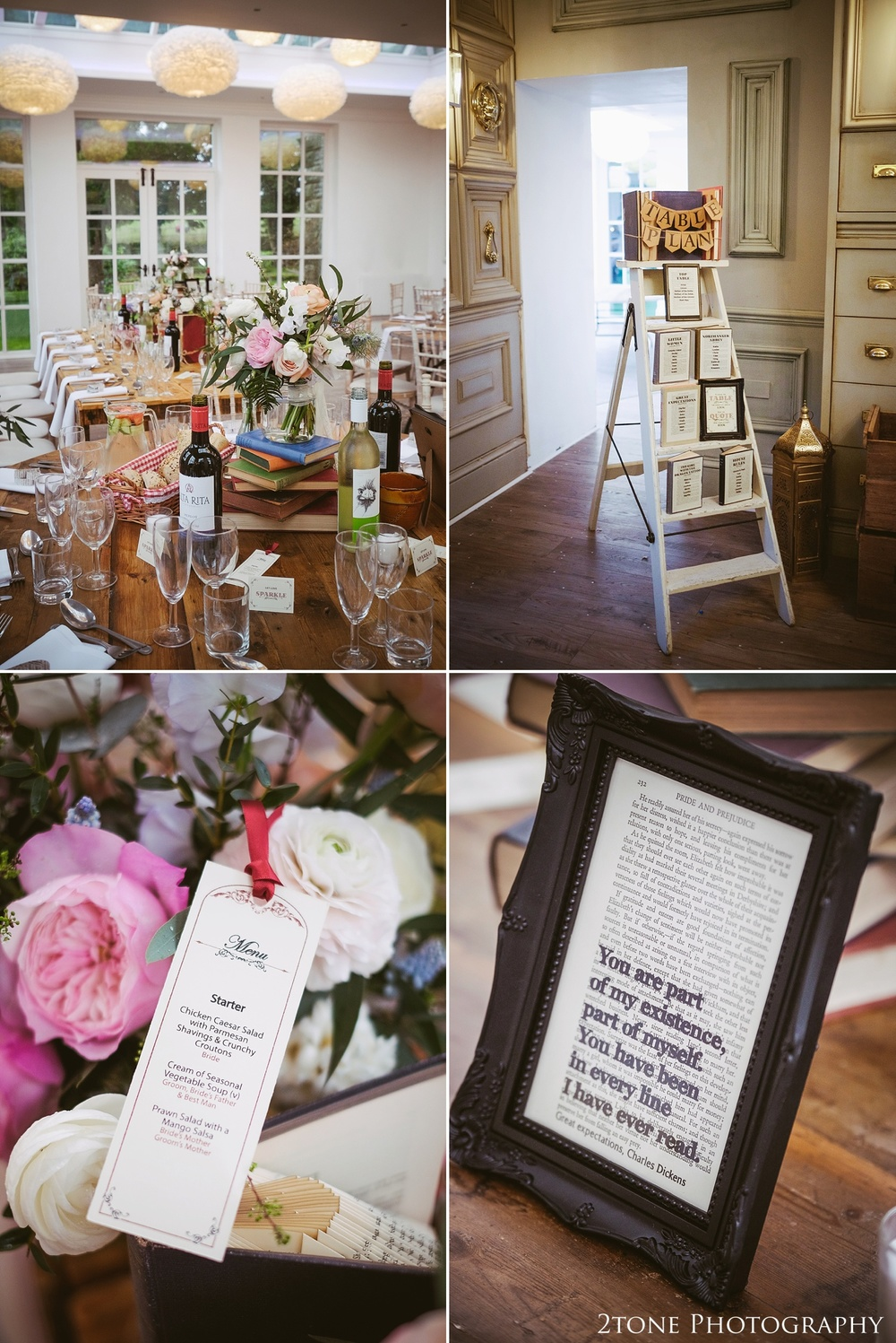 Book themed wedding details at Woodhill Hall.  Wedding photography in Northumberland by www.2tonephotography.co.uk