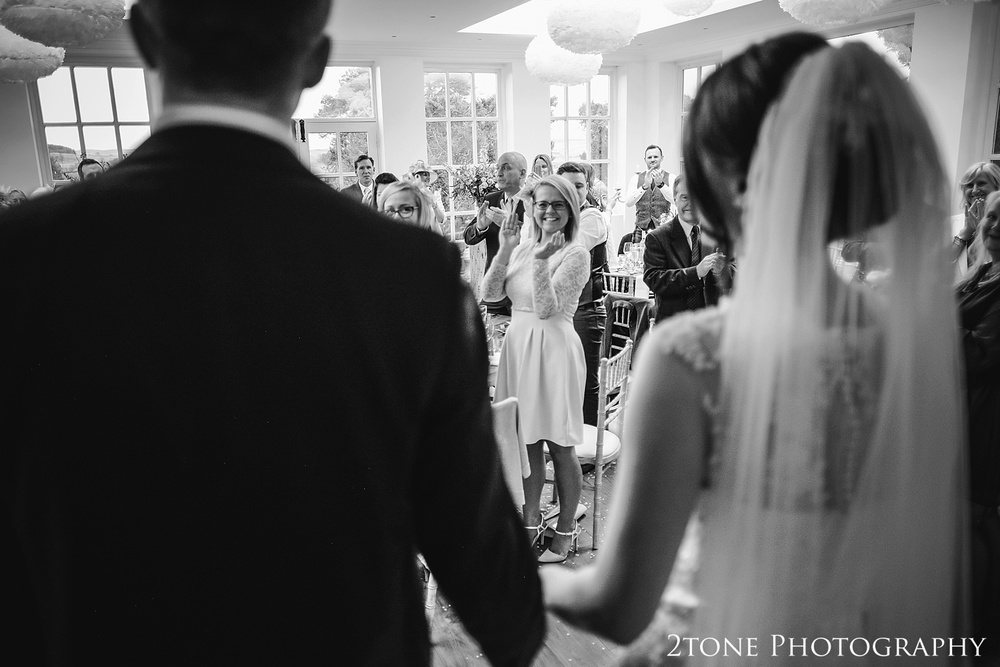 Arrival of the bride and groom at Woodhill Hall.  Wedding photography in Northumberland by www.2tonephotography.co.uk