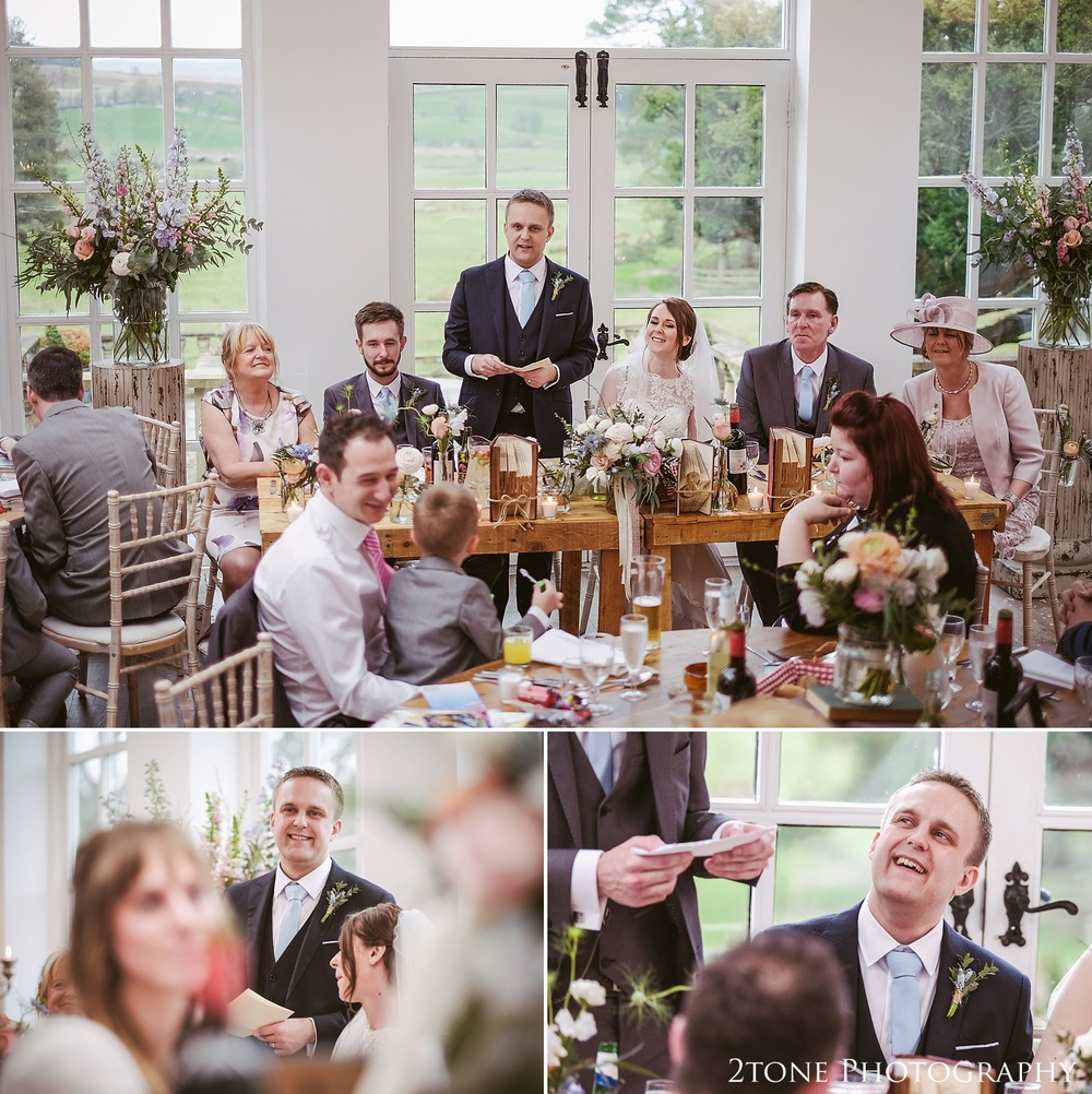 The groom's wedding speech at Woodhill Hall.  Wedding photography in Northumberland by www.2tonephotography.co.uk
