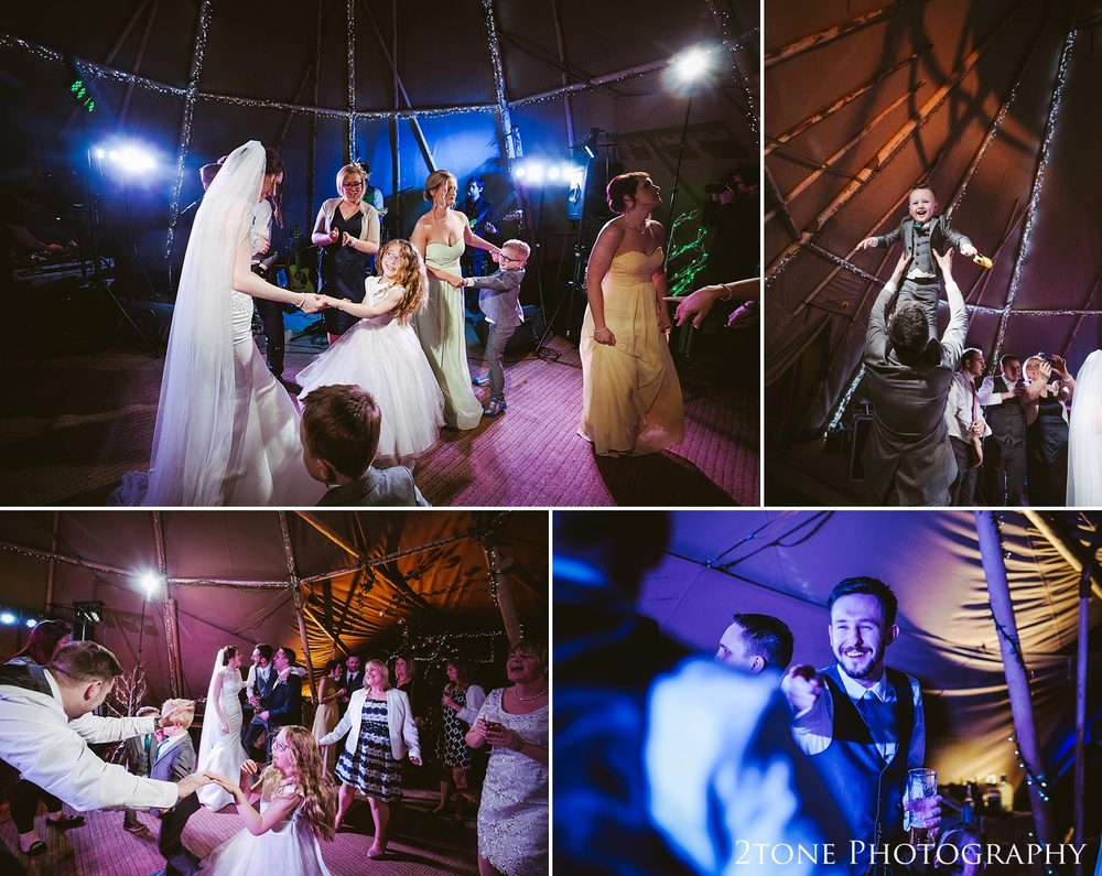 Natural wedding photos in the tipi at Woodhill Hall.  Wedding photography in Northumberland by www.2tonephotography.co.uk