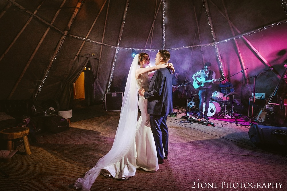 The wedding first dance in the tipi at Woodhill Hall.  Wedding photography in Northumberland by www.2tonephotography.co.uk