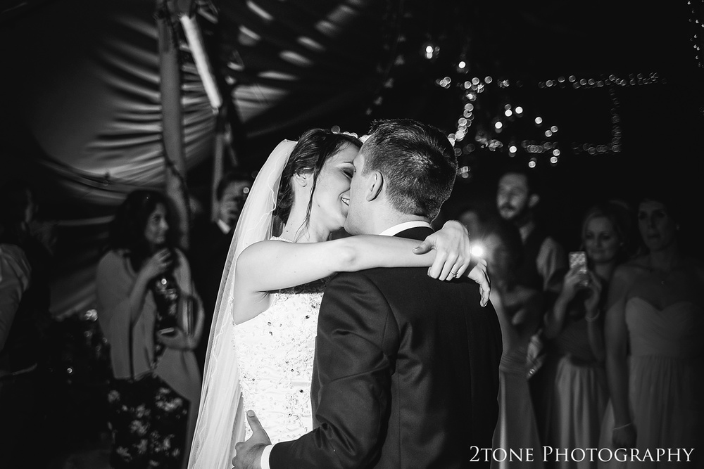 The bride and groom's first dance in a tipi at Woodhill Hall.  Wedding photography in Northumberland by www.2tonephotography.co.uk