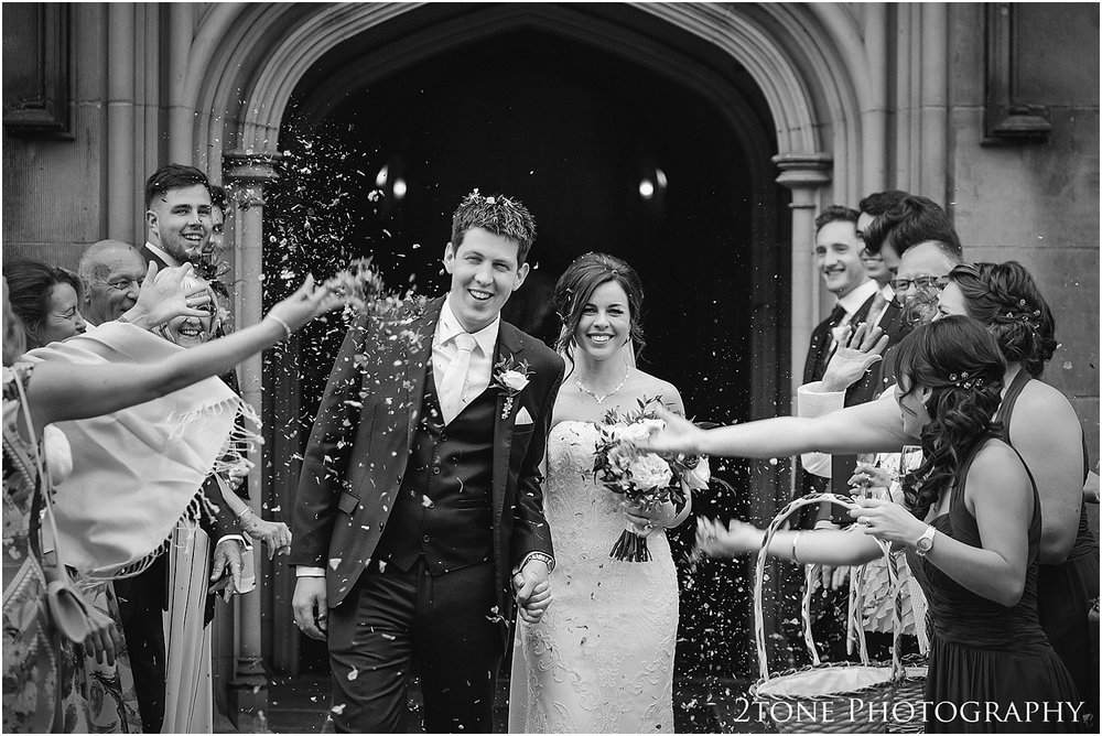 Wedding confetti at Matfen Hall