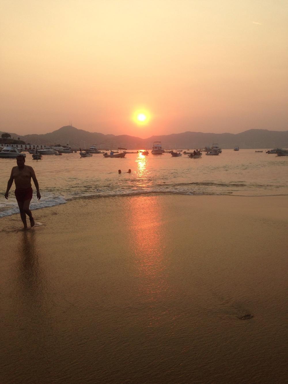 Swam at sunrise both mornings