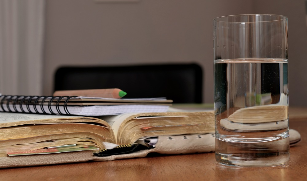 glass of water at your desk