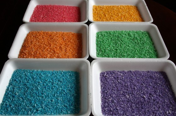 This  is an easy-to-follow tutorial from  Happy Hooligans . Always good to have in the house, rainbow rice will come in handy in some of the ideas below.