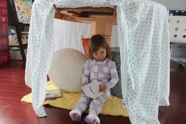 Napping, reading, listening to music: everything is better in a den. Jen at  mama.papa.bubba . built  this  very cute one.