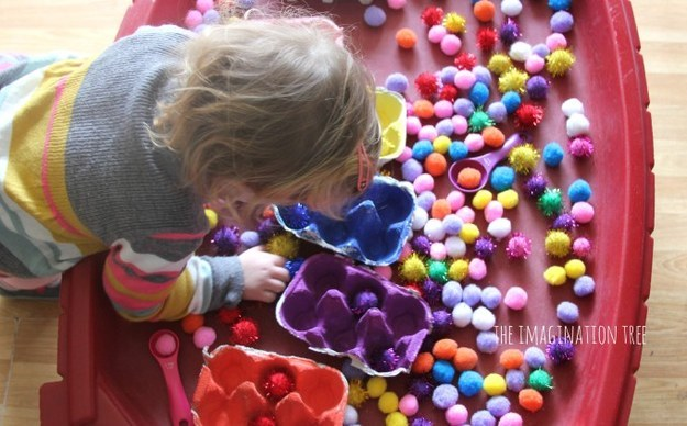 Teach your little one colours with a bag of pom poms and some egg cartons. Anna at The Imagination Tree  has an  easy tutorial .