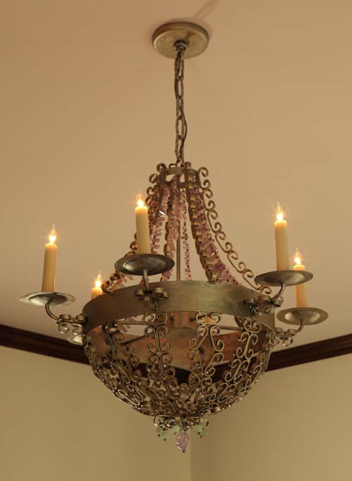 The chandelier is one of my designs using amethyst quartz.