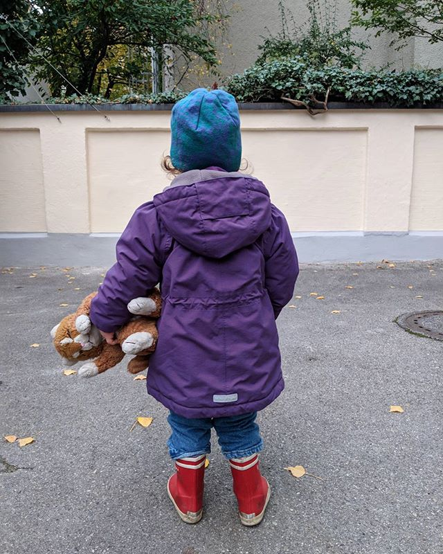 Purple jacket and 30 yr old cat toy in tow
