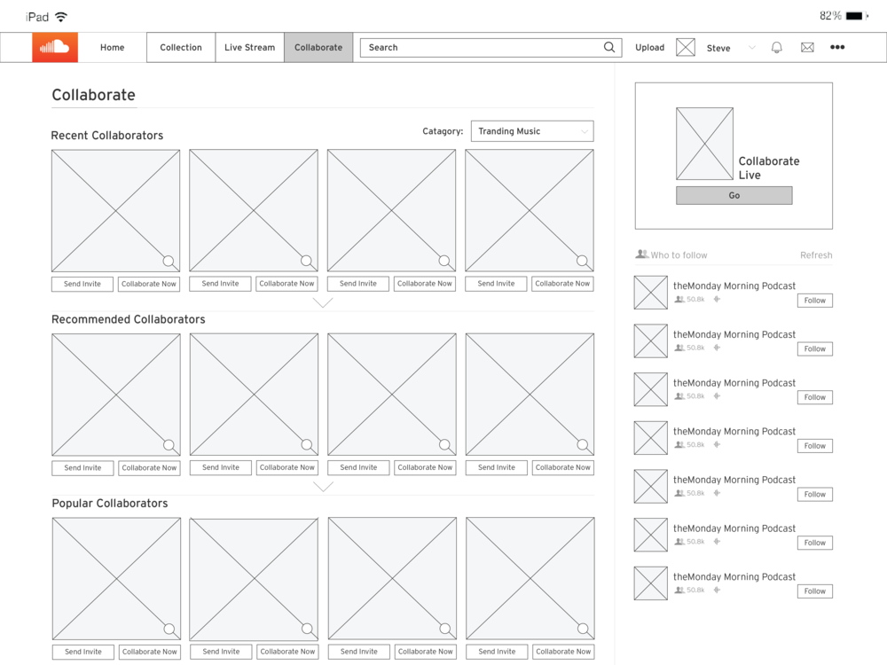 Menu page of Collaborate feature