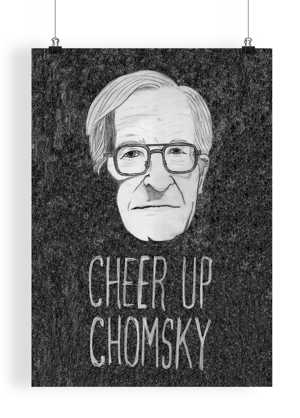 "Cheer Up Chomsky  Hand drawn illustration of the famous American linguist and political commentator Noam Chomsky. The phrase ""Cheer up Chomsky"" randomly came from an episode of the infamous Russell Brand BBC Radio 2 show. No, not 'that' episode."