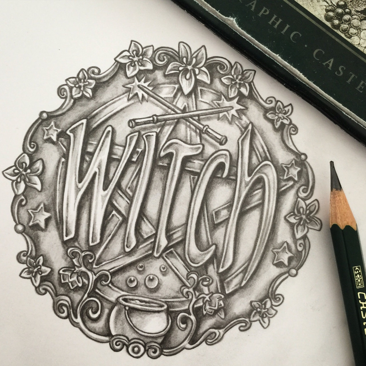 'Witch' button design.