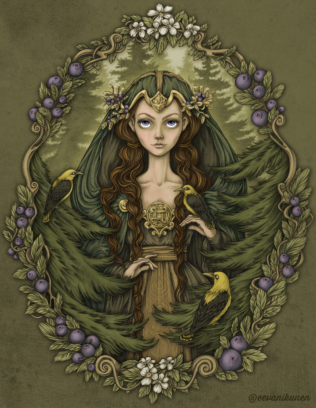 Her name is Mielikki, she's the Lady of the Woods and healer of wounded animals. She can be seen disguised as a hunched back old woman picking berries. But under that hooded cloak is really the beautiful Queen of the Forest… and she's watching you closely as you pass through her realm.
