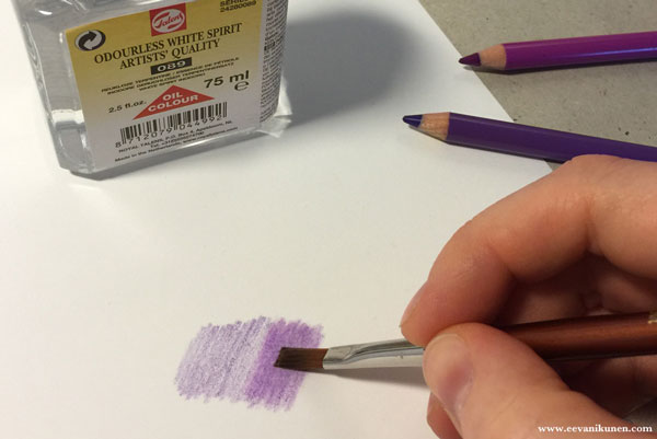 I like to use a flat brush to push the pigment of the coloured pencils into the grain of the paper.