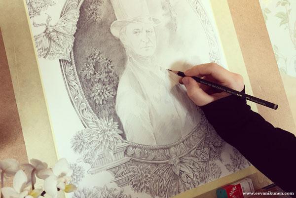 Work in progress photo of a portrait of Ralph Waldo Emerson.