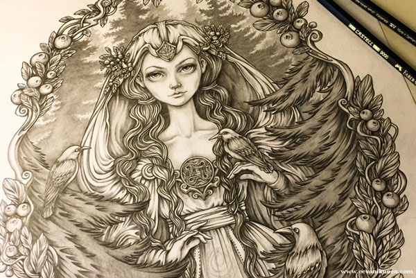 'Lady of the Woods' graphite pencil drawing.