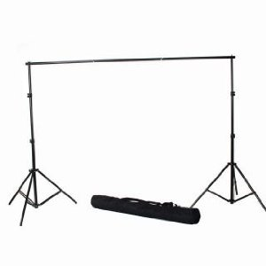 I use a simple photography backdrop canvas stand like this. It's lightweight and easy to carry. It's a great way to build a simple clean backdrop for your convention booth.