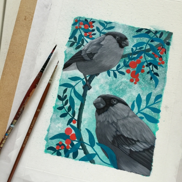 Now that I have all the main elements in place, I start painting the birds in detail. I'm still using acrylic paints and only using grey and white. I want to work in all the shadows and highlights of the birds before I start adding colour layers.