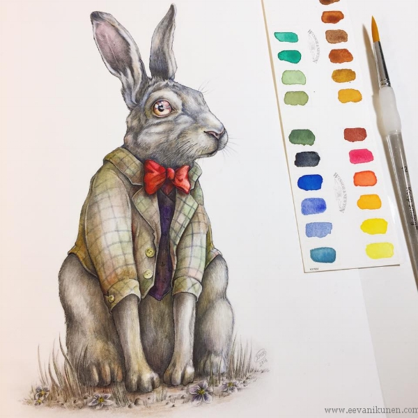 The White Rabbit. Drawn with graphite and watercolour on Fabriano Artistico Watercolour paper.