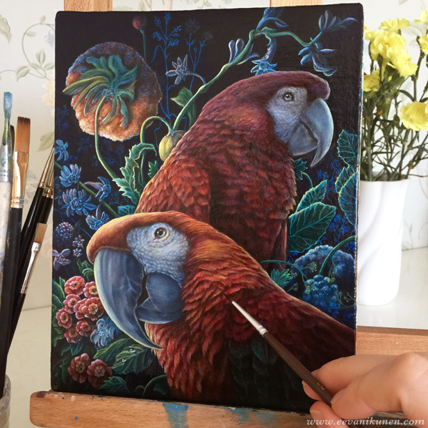 In this photo I am putting the finishing glazes on 'Parrot Garden'.