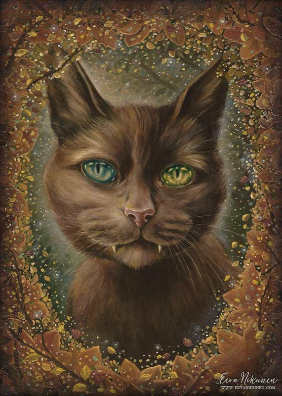 Fantasy art cat painting. Copyright © Eeva Nikunen 2019. All rights reserved.