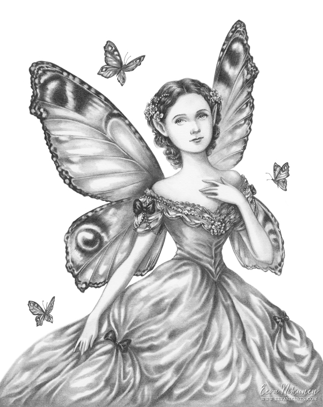 Fairy art illustration. Copyright © Eeva Nikunen 2019. All rights reserved.