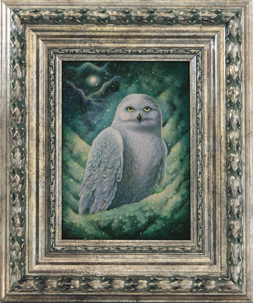 Fantasy art snowy owl painting. Copyright © Eeva Nikunen 2019. All rights reserved.