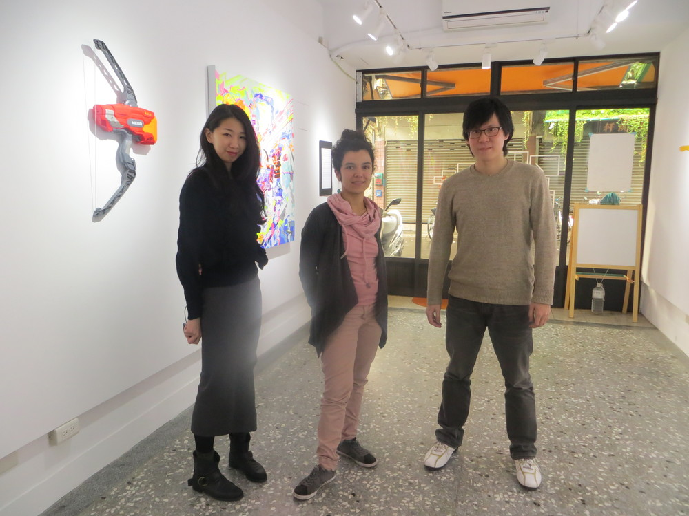 Me with Olivia, gallery assistant and Paul, director.