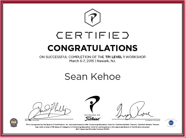 TPI Golf Fitness Certified