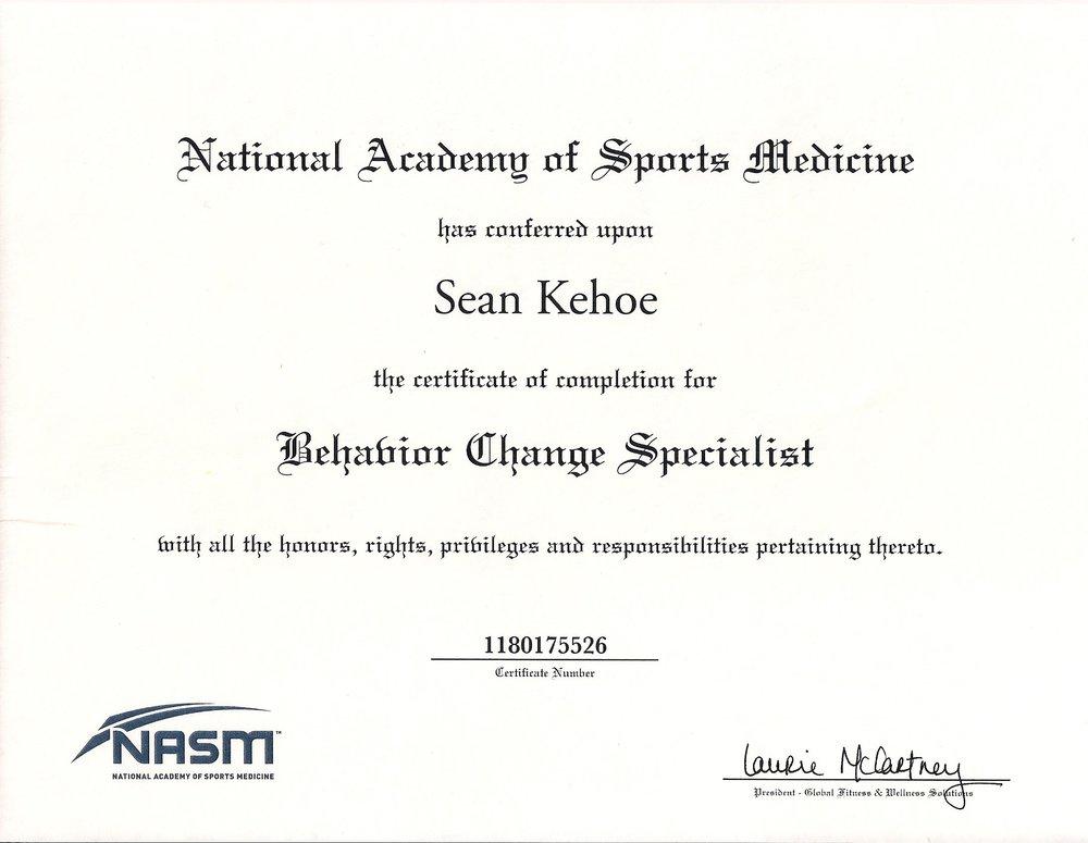 NASM Behavior Change Specialist