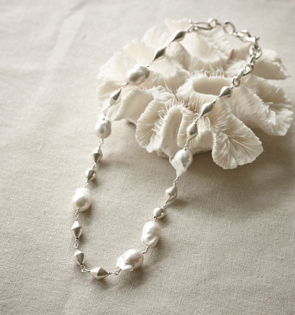 Baroque pearls with handcrafted fine silver bicone beads