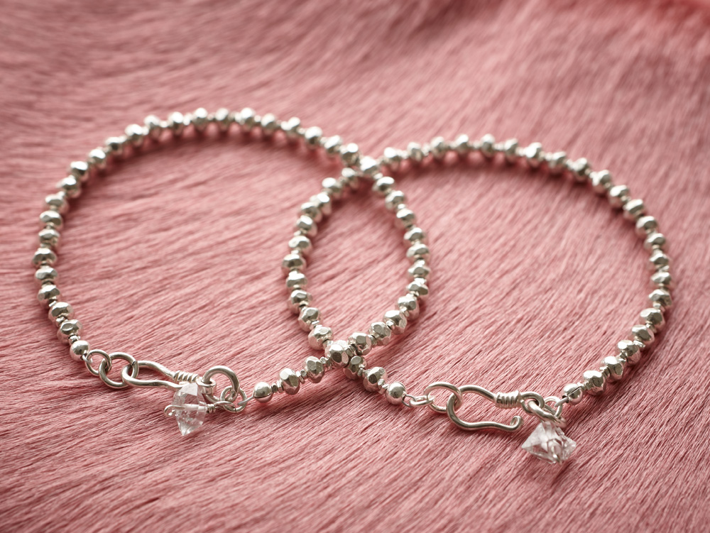 "Fine silver bracelets with Herkimer ""diamonds"""