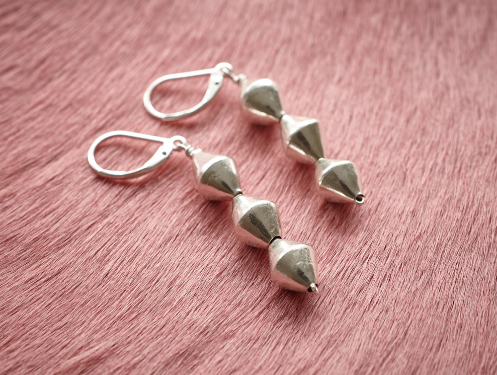 Fine silver bicone bead earrings