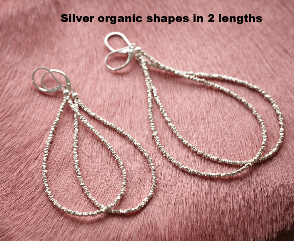 Fine silver heishi earrings