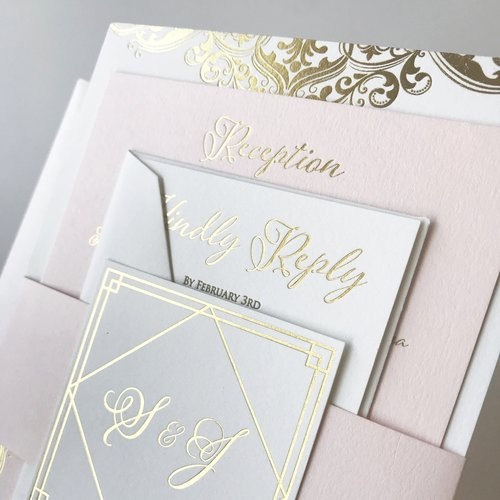 Stephanie Costantino - Ryan exceeded all of my expectations when designing my wedding invitations. Not only was the finished product ABSOLUTELY GORGEOUS-he kept me updated along the production process even sending me sneak peaks of finished pieces and videos of my invitations being foiled or letter pressed. Aside from the beautiful invitations, Ryan was a pleasure to work with, extremely helpful, creative and so nice. I never thought I would be able to afford the products that Ryan created for me in a reasonable price... the letterpress, gold foil & paper designs were unimaginably perfect! I cant recommend this company enough!
