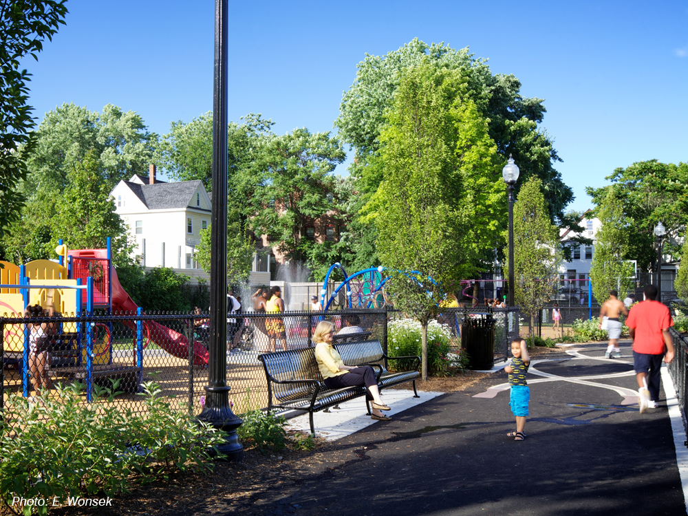 "By creating better connections and pedestrian circulation, and adding new lighting, furnishings, two lit basketball courts, and a vibrant new playground and splash pad, CBA's design revitalized this large park, exceeding the community's expectations. Areas for multiple uses were highly important in the design. Praised as ""an oasis in the city"" and ""like night and day"" when compared to the prior space, the park showcases CBA's ability to respond to the needs and desires of residents and create a neighborhood asset."