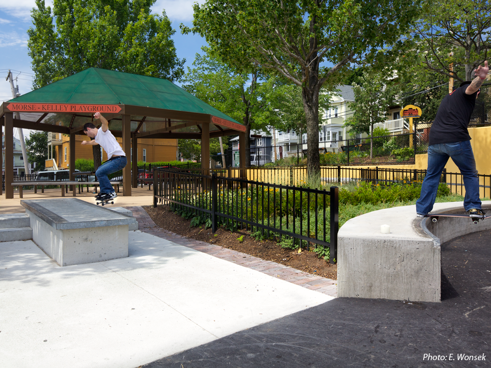 A true urban park for all ages, neighborhood input led this space to become the first public space in Somerville to include skateboarding as one of the featured activities. The skate elements are designed to fit into the overall design and to have alternate uses, such as seating and access. The park also features a four-sport court area, a vibrant tot lot, a new community garden, a rock climbing wall, extensive drought-tolerant plantings, a new entry plaza with monumental metal columns, and seating throughout the site.