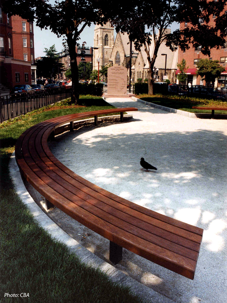 CBA designed the Harriet Tubman Park as a visual and cultural landmark for the City. Two significant sculptures inspired the design. One contemporary piece by Fern Cunningham honors Harriet Tubman. The other was sculpted in 1913 by Meta Warrick Fuller to commemorate the fiftieth anniversary of the Emancipation Proclamation. CBA designed an ornamental iron fence and bollards to complement the spirit of the sculpture. We are proud to note that Tubman Park received a  BSLA Merit Award for Design .