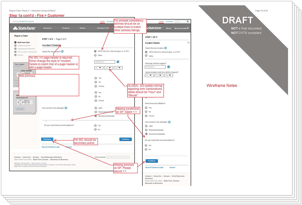"""""""Red-Lined"""" Wireframes"""