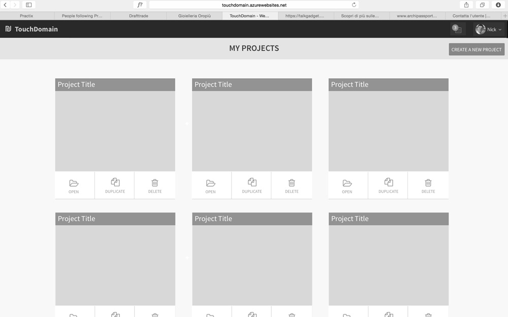 Project Page wireframe