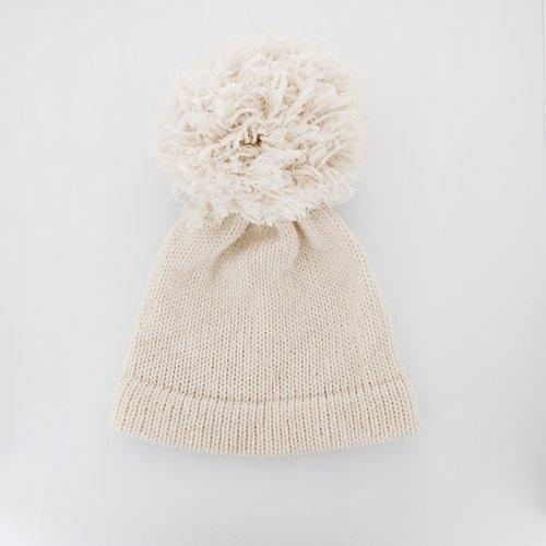Giant Pom Pom Wool Beanie- Ivory — Loré Loré 34425ad659c