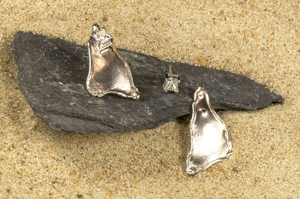 White Gold Brushed finish earring jackets with diamond earrings (sold Separately)