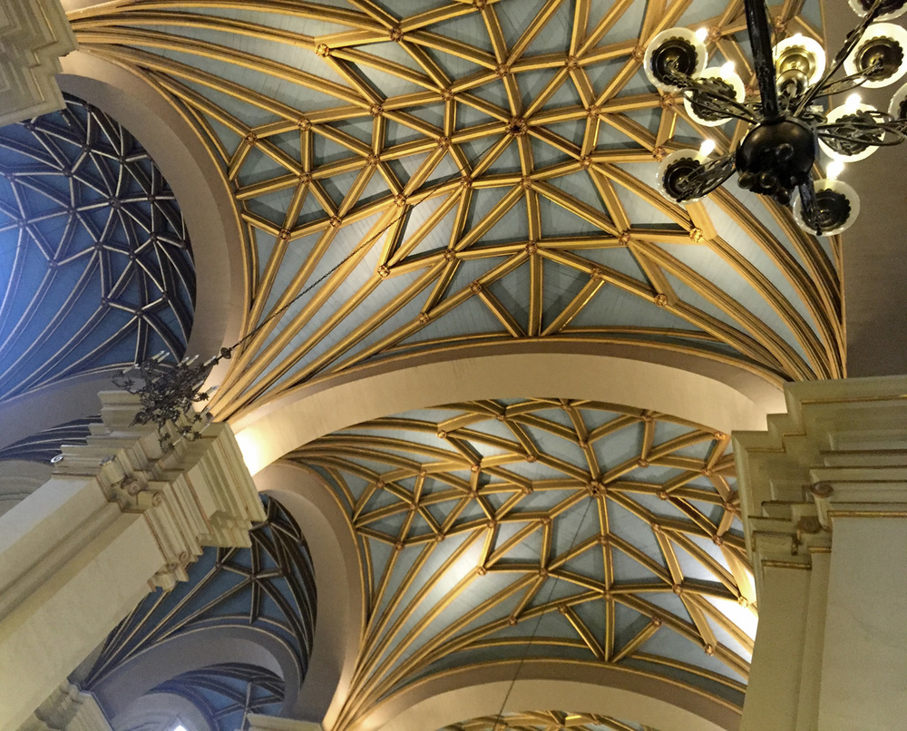 Intricately detailed vaulted nave of the baroque-styled Catedral de Lima