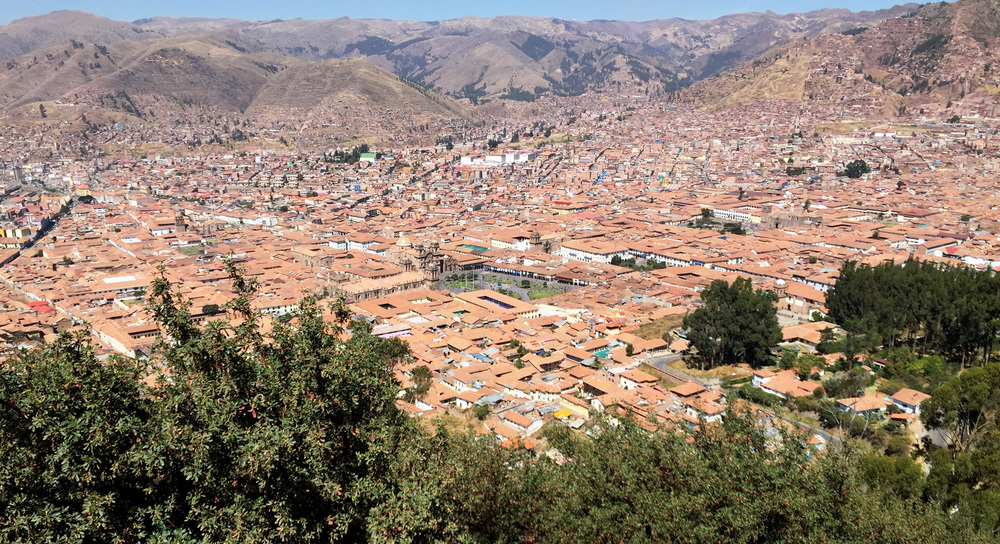 Overlooking present day Cusco from the ruins at Saksaywaman.