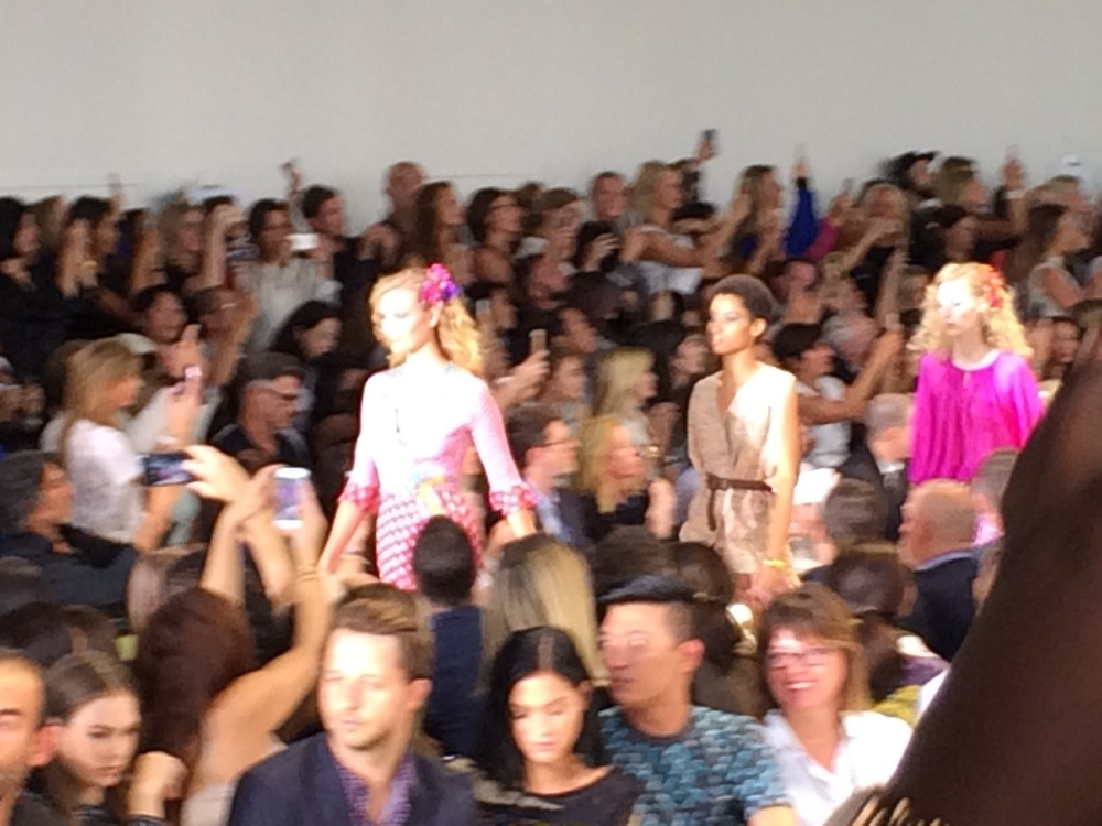 Karlie Kloss opens the DVF show, followed by Lineisy Montero