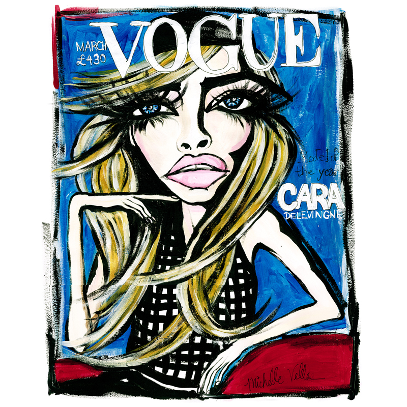 Cara Delevingne British Vogue $950 framed