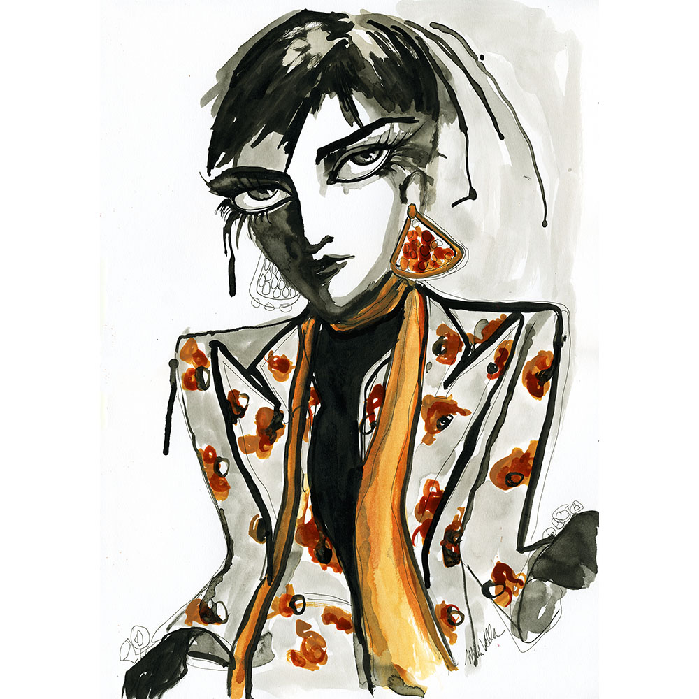 GUCCI Funny Business with a scarf W mag $150 unframed