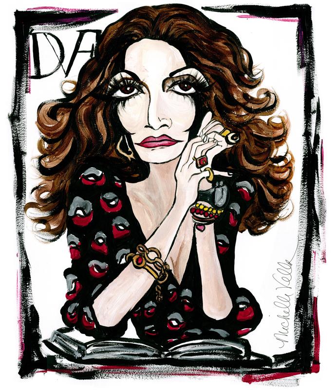 Diane von Furstenberg, Fashion Designer, Acrylic on paper, June 2015